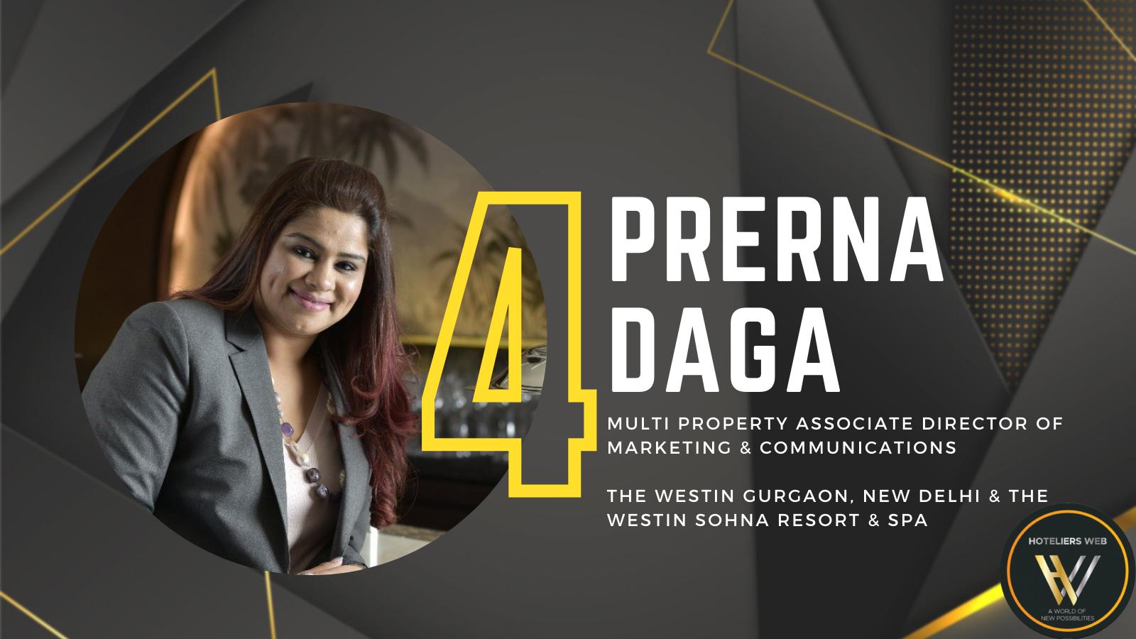 Prerna Daga – Ranked 4 on Power 25 Marketing & PR 2021 by Hoteliers Web