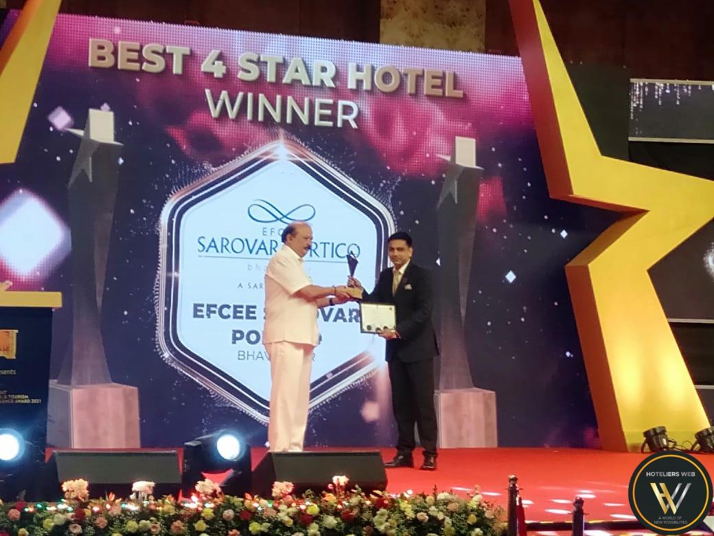 "Efcee Sarovar Portico, Bhavnagar won ""The Best Four Star Hotel in Gujarat"" award"
